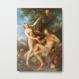 Adam and Eve, Francois Lemoyne Vintage Oil Painting Metal Print