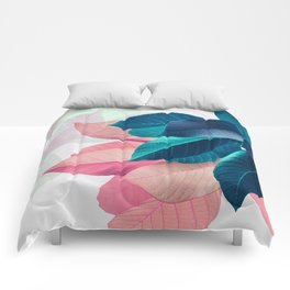 Pink and Blue Leaf Comforters