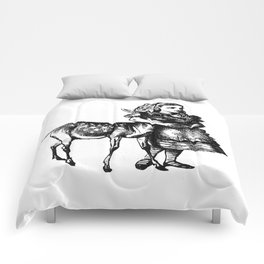 Alice and the Fawn in Black Comforters