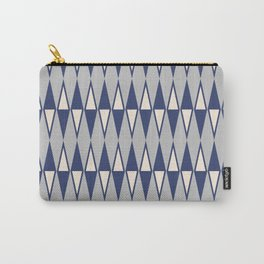 Mid Century Modern Diamond Pattern Blue and Gray 232 Carry-All Pouch