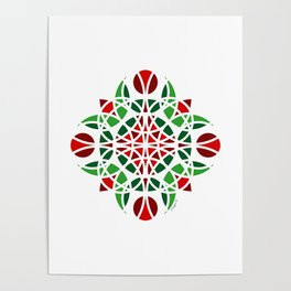 #7 Geometric Floral Ornament Green And Orange Poster
