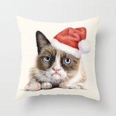Grumpy Santa Cat Throw Pillow