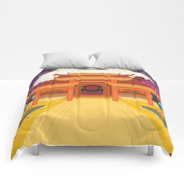 full moon vector japanese temple Comforters