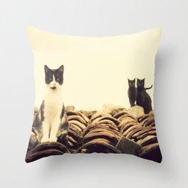 gatos en el tejado Throw Pillow