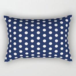 Navy Blue Polka Dot Rectangular Pillow