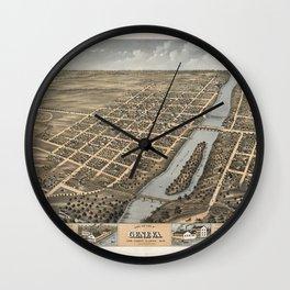 Bird's Eye View of Geneva, Illinois (1869) Wall Clock