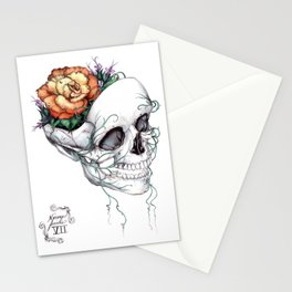 Skull with Flowers Growing out of Head Stationery Cards