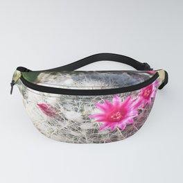 cactus in the desert with beautiful blooming pink flower Fanny Pack
