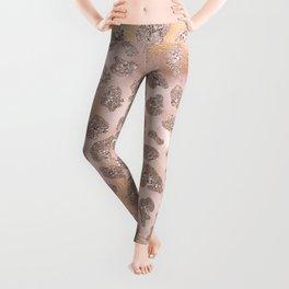 Rosegold Blush Leopard Glitter Leggings