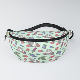 Guinea Pig Pattern in Mint Green Background with mix berries Fanny Pack