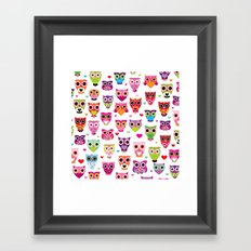 Cute colorful retro style owl illustration pattern Framed Art Print