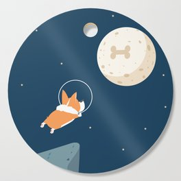 Fly to the moon _ navy blue version Cutting Board