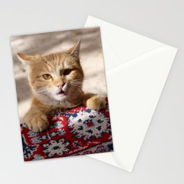 Cat on Persian Carpet Stationery Cards