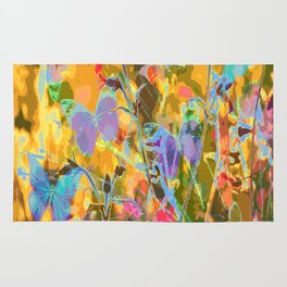 Butterflies flying in meadow - lovely colors and details - summer mood Rug