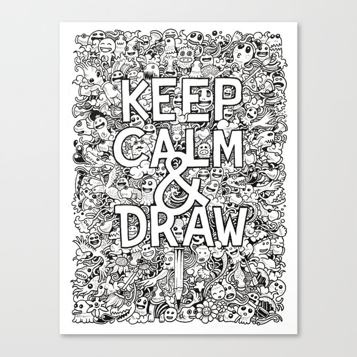 Keep Calm and Draw Canvas Print