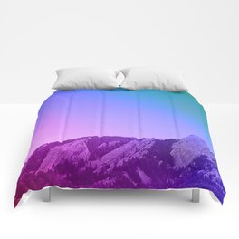 Boulder Colorado Flatirons Decor \\ Chautauqua Park Purple Pink Blue Green Nature Bohemian Style Art Comforters