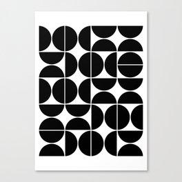 Mid Century Modern Geometric 04 Black Canvas Print