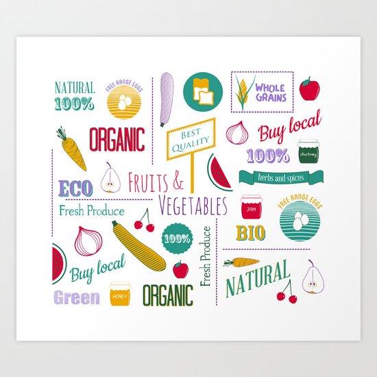 Farmers market pattern - white Art Print
