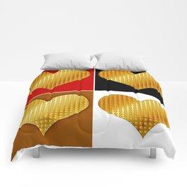Golden hearts-Collage Comforters
