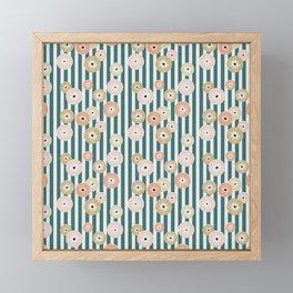Delicate flowers on stripes Framed Mini Art Print