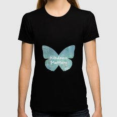 Kindness Matters Butterfly Expressions LARGE Black Womens Fitted Tee