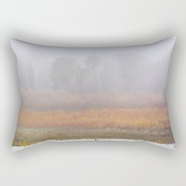 Wid ducks and cormorants at foggy sunrise  Into the foggy lake Rectangular Pillow