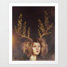 The Golden Antlers Art Print