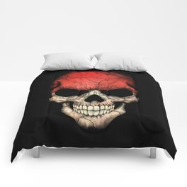 Dark Skull with Flag of Indonesia Comforters