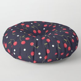 469-Cherries with polka dots cute pattern navy background Floor Pillow