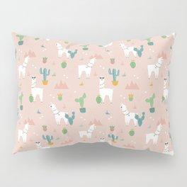 Summer Llamas on Pink Pillow Sham