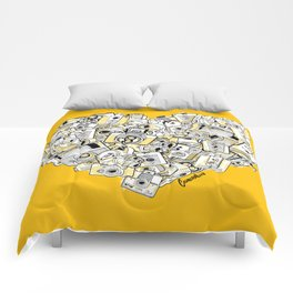 Camera Heart - on yellow Comforters