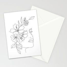 Minimal Line Art Woman Face II Stationery Cards