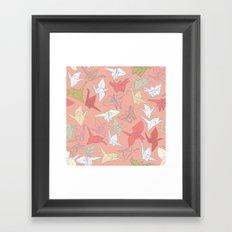 Paper Cranes- Peach Framed Art Print