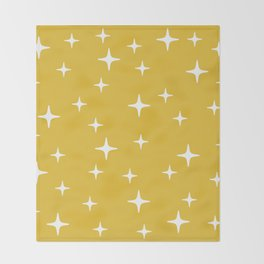 Mid Century Modern Star Pattern 443 Mustard Yellow Throw Blanket