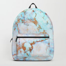 Blue and gold faux marble Backpack