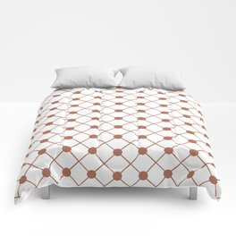 Sherwin Williams Cavern Clay SW7701 Thin Line Stripe Grid and Polka Dots on White Comforters