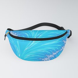 Abstract Aqua Blue Christmas Tree Branch with White Snowflakes Fanny Pack
