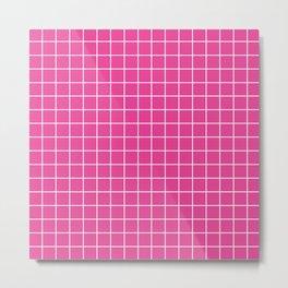 Barbie Pink - fuchsia color - White Lines Grid Pattern Metal Print
