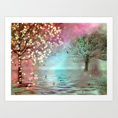 Surreal Fantasy Fairy Tale Aqua Pink Sparkling Fairylights Nature Trees Art Print