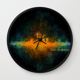 San Antonio City Skyline Hq v4 Wall Clock