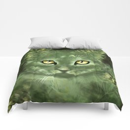 Fern Cat- El gato helecho Comforters