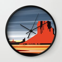 Monument Valley sunset magic realisim Wall Clock