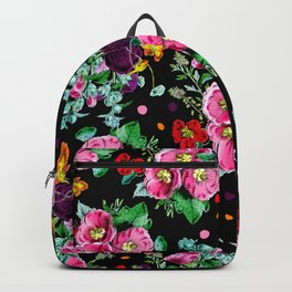 Modern vintage floral pink purple orange bouquet polka dots on black Backpack