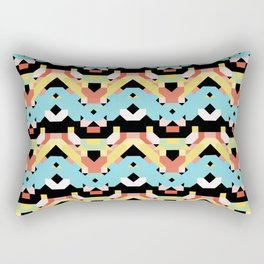 middle blue and terra cotta colors retro geometric pattern Rectangular Pillow