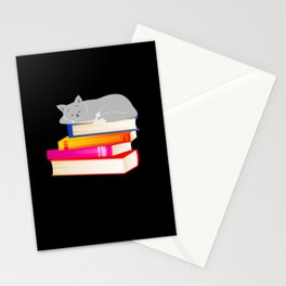 Cat sleeping on Books Reading Cat Lover Stationery Cards