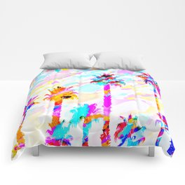 palm tree with colorful painting texture abstract background in pink blue yellow red Comforters