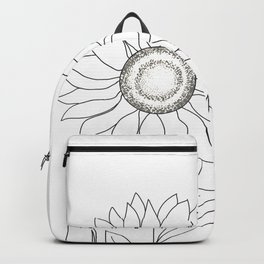 Minimalistic Line Art of Woman with Sunflower Backpack