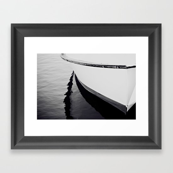 Reflections Black and White Nautical Boat Framed Art Print