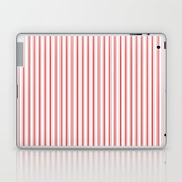 Mattress Ticking Narrow Striped Pattern in Red and White Laptop & iPad Skin