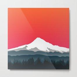 Mount Hood Winter Forest - Sunset Metal Print